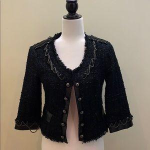 Bebe tweed and chain cardigan jacket 3/4 sleeve